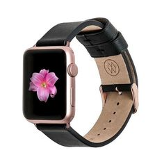 Monowear Black Leather Band + Rose Gold Elegant Adapter 42mm, Adult... ($80) ❤ liked on Polyvore featuring jewelry, watches, gold watches, gold wrist watch, red gold watches, rose gold jewellery and leather band watches