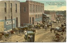 First Monday Jockey Yard, looking east on Jefferson Street between Rogers and College, circa 1904.WAXAHACHIE, Ellis County, Texas