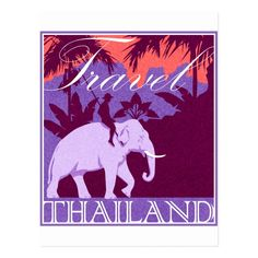 Travel Thailand white elephant Postcard - tap to personalize and get yours #Postcard #travelelephantthailandasiaasianthaivintageretro
