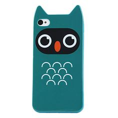 Cartoon Owl Pattern Hard Case for iPhone 4 and 4S (Blue) – USD $ 4.99