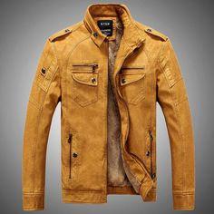 Gender: Men'sOuterwear Type: Leather & SuedeCuff Style: ConventionalClothing Length: ShortClosure Type: ZipperFabric Type: WovenCollar: Mandarin CollarSleev