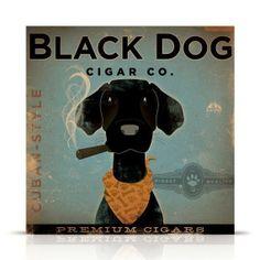 BLACK DOG CIGAR company advertising style artwork by geministudio, $69.00