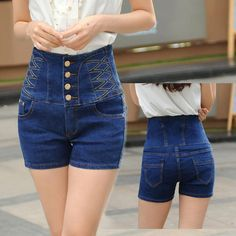 Wholesale Women Shorts 2017 Summer Fall Vintage High Waist Denim Shorts Female Show Slim Sexy Casual Plus Size Short Jeans 6XL