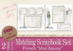 French Mon Amour Matching Scrapbook Set Vintage images set free Public Domain for subscribers at: www.artsybeedigital.com (Membership is free)