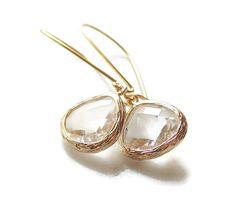 Clear earrings Bridesmaid gift Crystal earrings by EllaRuthDesign