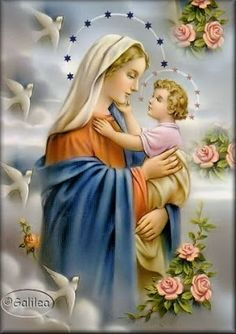 """The Holy Mary with her Holy Child """"Jesus"""", the Christ and Son Of God Jesus Mother, Blessed Mother Mary, Blessed Virgin Mary, Baby Jesus, Religious Images, Religious Icons, Religious Art, Catholic Pictures, Pictures Of Jesus Christ"""