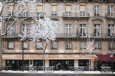 Paris Cafe in the Snow - Winter in Paris