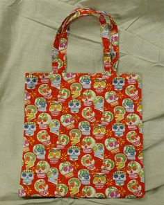 Red Candy Skulls, Handmade Cotton Tote/ 20% off Super Sale! from now until 4/12.
