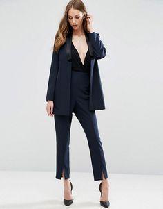 ASOS Longline Clean Tux Suit in Navy