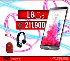Llévate un LG G3 con un plan de 120 min + 1000msjs +5 mbps por tan solo ¢211,900°° de prima!!! #LgG3  Al adquirir esta terminal también te podrás llevar gratis, unos audífonos XPHONES, BOLSOS, RASPADITAS Y MÁS. Aprovecha estas grandes promociones que