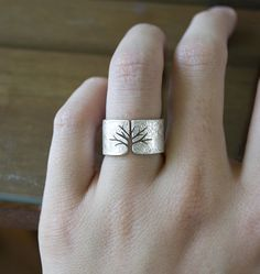 Textured Silver Tree Ring by Andy Hieber