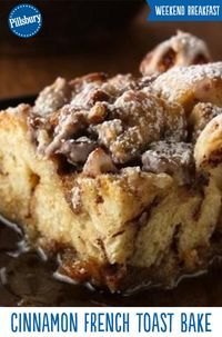 Cinnamon rolls + french toast = Christmas morning goals! Warm up on holiday or weekend mornings with this easy recipe for Cinnamon French Toast Bake. Made with cinnamon rolls this bake is perfect for brunch  gatherings and will impress all your guests!