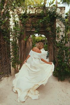 "Silk Off the Shoulder Wedding Gown for the Untraditional Bohemian Bride - ""Casablanca"" by Daughters of Simone"