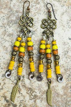 San Antonio Earrings: Exotic Yellow, Orange and Bronze Chandelier Feather Dangle Earrings Bronze Chandelier, Chandelier Earrings, Beaded Earrings, Fringe Earrings, Diy Boho Earrings, Beaded Jewelry, Tribal Earrings, Tribal Jewelry, Bohemian Jewelry