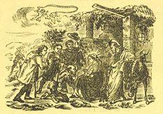 Xilografía en cabecera del segundo título de unos pastores adorando a Jesús en el portal de Belén.
