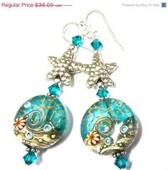 Handmade Glass Earrings with Lampwork Ocean Beads by Etsy SRA Artist, Swarovski Crystal, Hill Tribe Starfish, and Sterling Silver Earwires