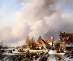 Jan Jacob Spohler - IJsgezicht met huizen, schaatsers en koek-en-zopie