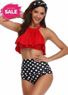 aihihe Womens 2 Piece High Waisted Swimsuit Tummy Control Bathing Suit Flounce Swimwear Racerback Vintage Bikini Set