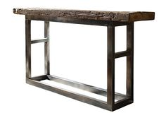 Emeric Leg Console Table  Weathered to rustic perfection, this reclaimed elm and steel console rides an appropriate line between country contemporary and urban Zen.