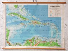 A wonderfully vibrant and super colourful canvas map of the West Indies produced as a Philip's Regional wall map. Vintage Interiors, Vintage Antiques, Money Jars, Salvaged Doors, Vintage Windows, Wall Maps, Vintage Canvas, Antique Christmas, West Indies