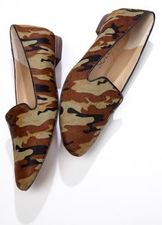 Slip-on printed flats in that classic smoking slipper shape. | camouflage | Sole Society