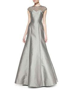 T8H17 ML Monique Lhuillier Cap-Sleeve Beaded Lace Illusion Gown