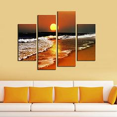 Stretched Canvas Print Art Landscape Beach in Sunset Set of 4 – USD $ 79.99