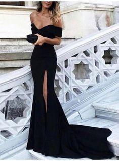 Mermaid Abendkleider Carmen-Ausschnitt Brush Train Sexy Schwarz Abendkleider # VB995