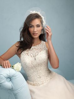 Romantic wedding dress by #Allure. Lace and beaded bodice. Sheer top wedding dress. Romantic wedding dress.