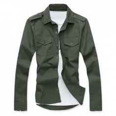 $10.78 Fashion Shirt Collar Solid Color Epaulet Design Slimming Long Sleeve Cotton Shirt For Men