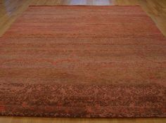 9' x 12' Oriental Rug Hand Knotted 100 Percent Wool Rust Red Modern