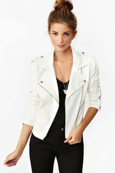 52f64bc1c3a 14 Best White Moto jacket outfits images | Fall fashion, White ...