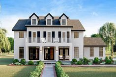 Plan 62807DJ: 4 Bed Southern Colonial House Plan With 2 Car Side Load Garage