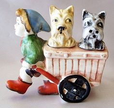 Vintage Boy and Scottie Dogs Salt And Pepper Shakers