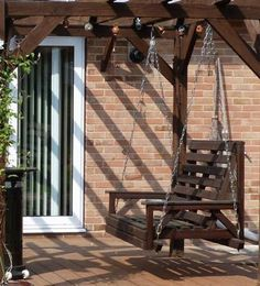 Attached Pergola Designs | Copyright image: Hanging seat as part of an attached lean-to pergola ...