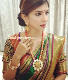 Lakshmi Manchu in a coral beads necklace photo Jewelry Design Earrings, Gold Earrings Designs, Coral Jewelry, Bead Jewellery, Bridal Jewelry, Temple Jewellery, Beaded Jewelry Designs, Indian Jewellery Design, Indian Jewelry