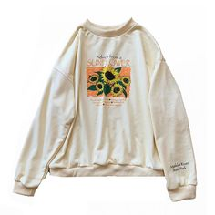 About Sunflower Sweatshirt EM This sweatshirt is Made To Order, we print the sweatshirt one by one so we can control the quality. Style Grunge, Soft Grunge, Earl Sweatshirt, Graphic Sweatshirt, Graphic Sweaters, Grunge Outfits, Fashion Outfits, Tokyo Street Fashion, Le Happy