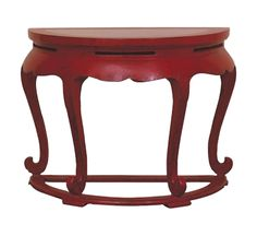 Vintage Red Asian Demilune Console Table on Chairish.com