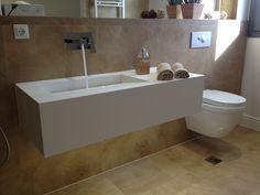 Bathroom l Private house l corian by dupont l Construction by Petsis Corian Dupont, Bathtub, Construction, Bathroom, House, Standing Bath, Building, Washroom, Bath Tub