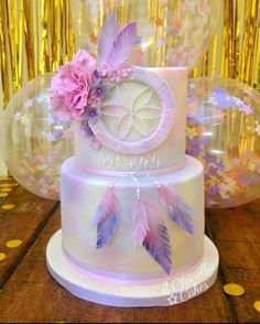 Dream Catcher cake - a rich chocolate cake filled with dark chocolate ganache buttercream perfect for chocoholics 💗 💗 Pretty Cakes, Cute Cakes, Beautiful Cakes, Amazing Cakes, Wild One Birthday Party, Birthday Parties, Birthday Ideas, Dream Catcher Cake, Bohemian Cake
