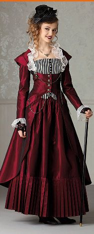 Steampunk wedding- steam punk girl or guy costume (customizable color options etc), plus size available. $700.00, via Etsy.