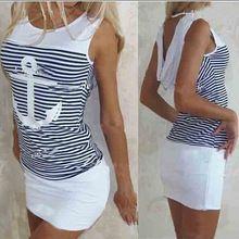 2015 the latest fashion striped Sleeveless Casual ship anchor sexy dress Women Summer Maxi Dresses Plus Size(China (Mainland))