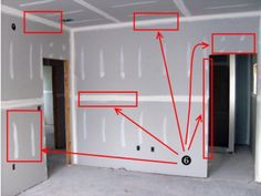 A visual guide to the layout and placement of drywall sheets.: Drywall Layout: Places to Sand