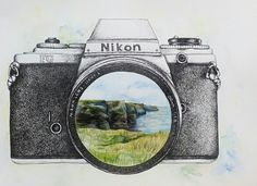 What do you see through your lense?  Pen&Ink/Watercolor Nikon camera   (Cliffs of Moher, Ireland)