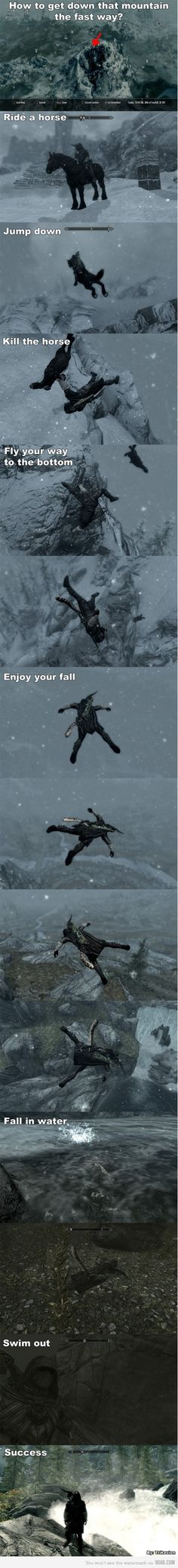 Kill the horse?!? F that!! You jump down slowly!! People don't jump enough IMO.