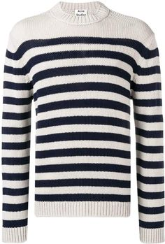 Acne Studios Breton Striped Sweater In Blue Milan Fashion Weeks, New York Fashion, London Fashion, Stockholm Street Style, Paris Street, Breton Stripes, Swedish Brands, Acne Studios, Blue Sweaters