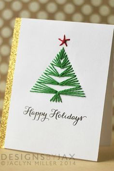 DIY Christmas Card Ideas- Handmade Christmas Cards – Christmas Celebration – All about Christmas – Christmas DIY Holiday Cards Homemade Christmas Cards, Christmas Tree Cards, Funny Christmas Cards, Homemade Cards, Holiday Cards, Christmas Diy, Christmas Baubles, Easy Diy Xmas Cards, Christmas Jesus