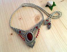 Carnelian macrame necklace, macrame jewelry, hippie necklace, carnelian jewelry, macrame stone, gemstone necklace, healing jewelry