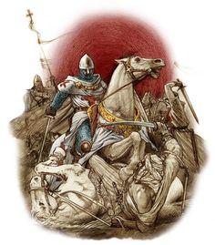 [Montgisard]. Au combat, les charges du Temple sont certes spectaculaires. Le 25 novembre 1177, le Roi de Jérusalem Baudouin IV fond sur les musulmans de Saladin avec moins d'une centaine de Chevaliers de l'Ordre du Temple et autant de combattants « ordinaires ».