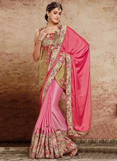 Cherubic Satin Pink Patch Border Work Classic Designer Saree